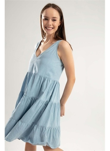Pattaya Pattaya Kadın Askılı Büzgü Detaylı Kot Elbise PTTY20S-690 Renkli